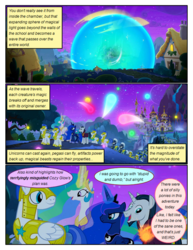 Size: 612x792 | Tagged: alicorn, artist:newbiespud, big crown thingy, canterlot, comic, comic:friendship is dragons, dialogue, edit, edited screencap, element of magic, explosion, female, fireworks, glowing horn, grin, horn, implied pinkie pie, implied rainbow dash, implied twilight sparkle, jewelry, looking back, magic, male, mare, night, pegasus, peytral, pony, ponyville, princess celestia, regalia, royal guard, safe, school raze, screencap, screencap comic, smiling, stallion, stars, telekinesis, unicorn