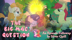 Size: 1280x720 | Tagged: safe, big macintosh, bright mac, pear butter, sugar belle, earth pony, pony, unicorn, the big mac question, apple, apple tree, episode followup, intertwined trees, pear tree, sun, text, tree