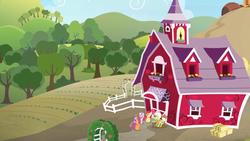 Size: 1600x900 | Tagged: apple bloom, barn, cutie mark crusaders, farm, fence, granny smith, hay bale, hill, orchard, pony, rocking chair, safe, scootaloo, screencap, spoiler:s09e23, sweetie belle, the big mac question