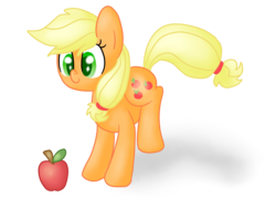 Size: 1600x1200 | Tagged: apple, applejack, artist:poofypegasus, cute, earth pony, food, hatless, jackabetes, looking at something, missing accessory, pony, safe, simple background, solo, transparent background