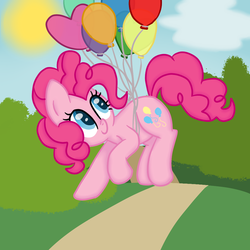 Size: 1024x1024 | Tagged: artist:poofypegasus, balloon, cute, diapinkes, earth pony, female, floating, heart balloon, looking back, mare, pinkie pie, pony, safe, smiling, solo, sun, then watch her balloons lift her up to the sky