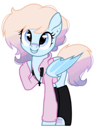 Size: 929x1245 | Tagged: safe, artist:nocturnal-moonlight, artist:rukemon, oc, oc only, oc:pastel activity, bat pony, pony, bandaid, base used, bat pony oc, clothes, commission, cross, ear piercing, earring, female, hoodie, jewelry, mare, necklace, piercing, raised hoof, socks, solo, stockings, thigh highs