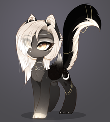 Size: 1773x1950 | Tagged: artist:magnaluna, chest fluff, cute, eye clipping through hair, female, oc, ocbetes, oc only, raised tail, safe, solo, sphinx, sphinx oc, tail