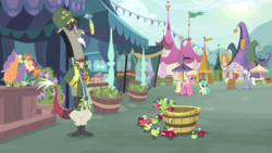 Size: 2020x1136 | Tagged: apple, background pony, basket, bubble pipe, clothes, coco crusoe, corncob pipe, discord, draconequus, earth pony, female, filly, flower, foal, food, general discord, helmet, lily, lily valley, living apple, male, mare, military uniform, mint flower, pear, pipe, pony, royal riff, safe, screencap, spoiler:s09e23, stallion, sunglasses, the big mac question, uniform