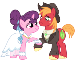 Size: 3600x3000 | Tagged: safe, artist:cheezedoodle96, big macintosh, sugar belle, earth pony, pony, unicorn, the big mac question, spoiler:s09e23, .svg available, bolo tie, clothes, cowboy hat, cute, dress, eye contact, female, hat, holding hooves, husband and wife, lidded eyes, looking at each other, male, mare, marriage, ring, shipping, shirt, simple background, smiling, stallion, straight, sugarmac, suit, svg, transparent background, vector, vest, wedding, wedding dress, wedding ring