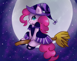 Size: 2912x2312 | Tagged: artist:tuxisthename, broom, clothes, cute, diapinkes, earth pony, female, flying, flying broomstick, full moon, halloween, hat, high res, holiday, mare, moon, night, pinkie pie, pony, profile, safe, sitting, sky, solo, stars, witch, witch costume, witch hat