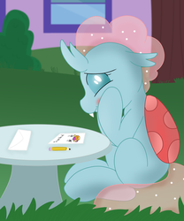 Size: 2550x3067 | Tagged: artist:skyflys, blushing, changedling, changeling, cute, cute little fangs, diaocelles, drawing, envelope, fangs, female, lesbian, note, ocellus, safe, school of friendship, shipping, sitting, smolcellus, smolder, solo, teenager
