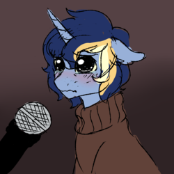 Size: 3500x3500 | Tagged: 4chan, anonymous artist, book, clothes, crying, diary, drawthread, gay, journal, male, microphone, /mlp/, oc, oc:closed book, pony, safe, simple background, solo, stallion, sweater, template, unicorn