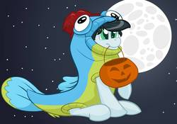 Size: 1070x747 | Tagged: safe, artist:cadetredshirt, oc, oc only, earth pony, fish, pony, animal costume, clothes, commission, costume, fish costume, full body, full moon, gradient background, halloween, halloween costume, holiday, male, moon, mouth hold, night, nightmare night, nightmare night costume, pumpkin, pumpkin bucket, simple background, sitting, sky, solo, stallion, stars, trick or treat, trick or treating, ych result