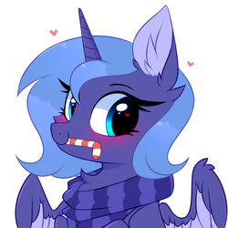 Size: 3000x3000 | Tagged: alicorn, artist:pesty_skillengton, blushing, bust, chest fluff, clothes, cute, ear fluff, female, heart, heart eyes, looking at you, lunabetes, mare, pony, portrait, princess luna, s1 luna, safe, scarf, simple background, solo, sweat, two toned wings, white background, wingding eyes, wing fluff, wings