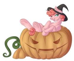 Size: 4032x3340 | Tagged: safe, artist:amazing-artsong, oc, oc only, pony, commission, digital art, female, halloween, hat, holiday, jack-o-lantern, pumpkin, simple background, solo, transparent background, witch hat, ych result