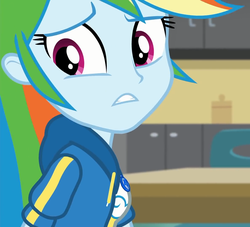 Size: 1187x1080 | Tagged: safe, screencap, rainbow dash, equestria girls, equestria girls series, schedule swap, spoiler:eqg series (season 2), anxiety, canterlot high, classroom, clothes, cropped, female, geode of super speed, jacket, magical geodes, solo, worried