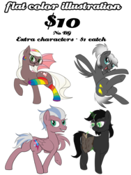 Size: 2276x3024 | Tagged: advertisement, bat pony, book, clothes, commission, commission info, earth pony, pegasus, pony, rainbow socks, safe, simple background, socks, striped socks, transparent background, unicorn