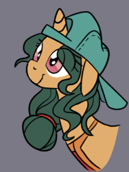 Size: 521x693 | Tagged: apron, artist:lockhe4rt, backwards ballcap, baseball cap, bust, cap, clothes, cute, female, floppy ears, fresh coat, gray background, hairband, hat, looking up, mare, pony, portrait, safe, simple background, smiling, solo, unicorn
