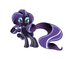 Size: 3840x3160 | Tagged: artist:damlanil, blushing, cute, female, glowing mane, happy, horn, latex, latex pony, living latex, living suit, mare, nightmare rarity, pony, possession, raised hoof, rarity, safe, shiny, solo, symbiote, underhoof, unicorn