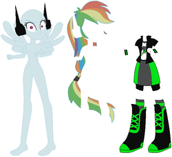 Size: 620x566 | Tagged: alternate cutie mark, alternate universe, artist:goupix-flocon, artist:ra1nb0wk1tty, artist:selenaede, base, bracelet, clothes, donut steel, elements of insanity, equestria girls, human, jewelry, pegasus wings, ponied up, rainbine, rainbine ears, rainbow dash, safe, shoes, wings
