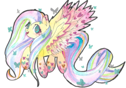 Size: 2223x1554 | Tagged: safe, artist:sadonax, fluttershy, butterfly, pegasus, pony, rainbow power, solo, traditional art, watercolor painting