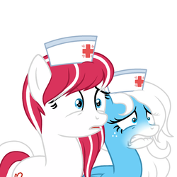 Size: 1500x1500 | Tagged: artist:rioshi, artist:starshade, earth pony, female, hat, horrified, mare, nurse, nurse hat, oc, oc:cherry pop, oc:icy heart, oc only, pegasus, pony, safe