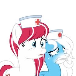 Size: 1500x1500 | Tagged: safe, artist:rioshi, artist:starshade, oc, oc only, oc:cherry pop, oc:icy heart, earth pony, pegasus, pony, female, hat, horrified, mare, nurse, nurse hat