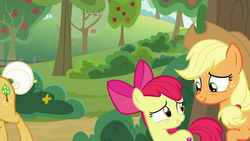 Size: 1280x720 | Tagged: safe, screencap, apple bloom, applejack, goldie delicious, pony, going to seed, apple, apple tree, tree