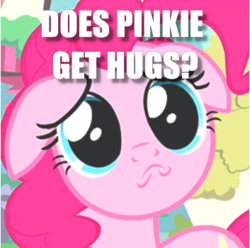 Size: 353x350 | Tagged: a friend in deed, bronybait, caption, cropped, edit, edited screencap, floppy ears, hug request, image macro, pinkie pie, puppy dog eyes, safe, screencap, solo, text