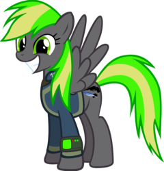 Size: 3866x4031 | Tagged: artist:x-blackpearl-x, fallout equestria, fallout equestria: the rejected ones, happy, oc, oc:destiny dazzle (dee), oc only, pegasus, pipbuck, safe