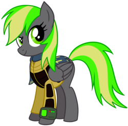 Size: 1800x1774 | Tagged: armor, artist:x-blackpearl-x, fallout equestria, fallout equestria: the rejected ones, oc, oc:destiny dazzle (dee), oc only, palindrome get, pipbuck, safe