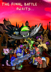 Size: 3508x4961 | Tagged: safe, artist:x-blackpearl-x, oc, oc only, oc:destiny dazzle (dee), oc:dethament, oc:flyeon rain (arno), oc:gear indust, oc:glareo, oc:littlepip, oc:midday sand, oc:opera, earth pony, griffon, pegasus, pony, unicorn, fallout equestria, amputee, armor, army, artificial wings, augmented, browser ponies, canterlot, cape, clothes, cowboy hat, fallout equestria: the rejected ones, fanfic, fanfic art, fantasy class, female, flying, glowing horn, goggles, gun, handgun, hat, hooves, horn, imminent battle, knife, knight, levitation, magic, male, mare, optical sight, paladin, pipbuck, poster, prosthetic limb, prosthetic wing, prosthetics, red clouds, revolver, rifle, scope, sitting, smiling, spread wings, stallion, standing, sword, telekinesis, vault suit, warrior, weapon, wings