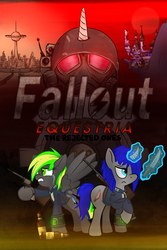 Size: 1600x2400 | Tagged: artist:x-blackpearl-x, canterlot, fallout equestria, fallout equestria: the rejected ones, fantasy class, gun, handgun, knife, knight, new pegas, oc, oc:destiny dazzle (dee), oc:dethament, oc only, paladin, pegasus, pipbuck, poster, revolver, rifle, safe, sunrise sarsaparilla, unicorn, warrior, weapon
