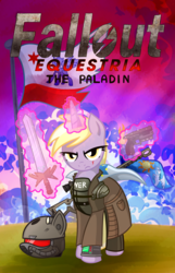 Size: 3223x5000 | Tagged: adult, armor, artist:x-blackpearl-x, cape, clothes, cover art, dinky hooves, explosion, fallout equestria, fallout equestria: the rejected ones, fanfic, fanfic art, fantasy class, female, flag, glowing horn, gun, handgun, hooves, horn, knight, levitation, magic, magic sword, mare, paladin, pipbuck, pistol, pony, poster, rifle, safe, scope, sniper rifle, solo, sword, telekinesis, unicorn, warrior, weapon