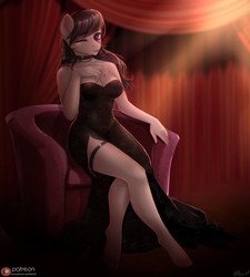 Size: 972x1080 | Tagged: safe, artist:alicesmitt31, octavia melody, earth pony, anthro, unguligrade anthro, adorasexy, bare shoulders, beautiful, beautisexy, black dress, black nail polish, braless, breasts, busty octavia, chair, choker, cleavage, clothes, cute, digital art, dress, eyelashes, female, garter, hand on chest, hooves, leg focus, legs, little black dress, looking at you, mare, nail polish, one eye closed, patreon, patreon logo, sexy, side slit, smiling, solo, strapless, stupid sexy octavia, tavibetes, total sideslit, wink