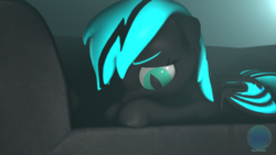 Size: 3840x2160 | Tagged: 3d, artist:archiesfm, bat pony, bat pony oc, couch, lying down, oc, oc:sapphire light, pony, sad, safe, slit eyes, source filmmaker, volumetric light, watermark