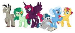 Size: 4107x1809 | Tagged: alicorn, alicornified, alternate cutie mark, alternate hairstyle, alternate mane six, alternate universe, artist:bluerosearrow, artist:elementbases, artist:flipwix, artist:pegasski, artist:quartziie, artist:seiimon, base used, book, discord, earth pony, female, fizzlepop berrytwist, male, mare, pegasus, ponified, pony, pony discord, race swap, raised hoof, role reversal, safe, simple background, smiling, species swap, spread wings, stallion, stygian, sunset shimmer, tempesticorn, tempest shadow, transparent background, trixie, unicorn, wallflower blush, wings
