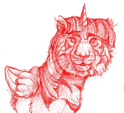 Size: 608x552 | Tagged: safe, artist:thefloatingtree, artist:vanillaghosties, twilight sparkle, alicorn, big cat, cat, cat pony, hybrid, original species, tiger, female, realistic, solo, species swap, twiger, twilight sparkle (alicorn), wat