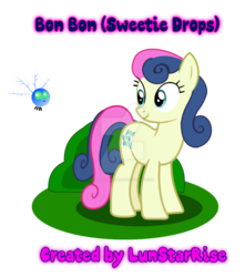 Size: 840x951 | Tagged: artist:lunstarrise, bon bon, earth pony, parasprite, pony, safe, solo, sweetie drops