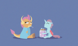 Size: 2051x1204 | Tagged: safe, artist:gd_inuk, ocellus, smolder, changedling, changeling, dragon, blank eyes, blanket, blue background, dragoness, duo, empty eyes, eyes closed, female, jar, lesbian, lineless, no mouth, no pupils, shipping, sick, simple background, sitting, smolcellus, sparkles, stylized, thermometer