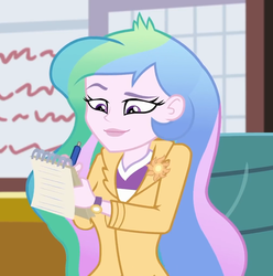 Size: 1005x1014 | Tagged: safe, screencap, princess celestia, equestria girls, equestria girls series, schedule swap, spoiler:eqg series (season 2), blazer, canterlot high, celestia's office, chair, cropped, female, notepad, pen, principal celestia, solo, watch, wristwatch, writing
