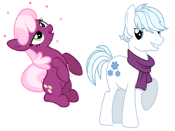 Size: 1196x898 | Tagged: artist:angeli98ca, artist:jeatz-axl, cheerilee, clothes, doublecheer, double diamond, earth pony, edit, female, filli vanilli, heart, male, mare, pony, raised hoof, safe, scarf, shipping, simple background, stallion, straight, swoon, transparent background, vector