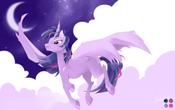 Size: 5120x3216 | Tagged: alicorn, artist:an14deru, cloud, crescent moon, ear fluff, female, flying, lidded eyes, mare, moon, night, pony, raised hoof, safe, solo, starry night, stars, twilight sparkle, twilight sparkle (alicorn)
