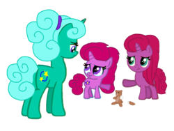 Size: 1440x1080 | Tagged: alternate hairstyle, alternate version, angry, artist:徐詩珮, background removed, base used, female, filly, glitter drops, magical lesbian spawn, mare, mother and daughter, next generation, oc, oc:betty pop, oc:ehenk berrytwist, offspring, parent:glitter drops, parents:glittershadow, parent:tempest shadow, pony, safe, siblings, simple background, sisters, transparent background, unicorn, vector