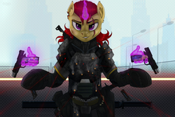 Size: 4500x3000 | Tagged: safe, artist:redvais, oc, oc only, oc:bernard monroe, pony, unicorn, ammo pouch, armor, bipedal, blood, bullet, bullet hole, bulletproof vest, candy, clothes, fence, food, glowing horn, gun, gunsmoke, hand, handgun, horn, injured, knife, laser, looking at you, magic, magic hands, male, military, pistol, raised hooves, reloading, scar, smiling, smirk, soldier, solo, stallion, standing, street, street lights, sword, telekinesis, torn ear, weapon
