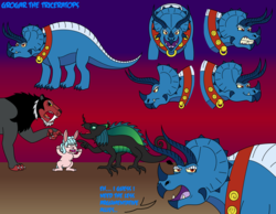 Size: 4840x3760 | Tagged: safe, artist:eddybite87, cozy glow, grogar, lord tirek, queen chrysalis, big cat, chameleon, dinosaur, rabbit, saber-toothed cat, triceratops, absurd resolution, animal, argument, bunnified, cozy glow is not amused, dinosaurified, expressions, fangs, gradient background, smiling, species swap