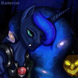 Size: 2500x2500 | Tagged: safe, artist:raeverran, princess luna, alicorn, pony, armor, halloween, holiday, horn, nightmare night, pumpkin, slit eyes, snake eyes, solo, space mane, teeth, откусит жопу