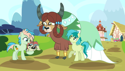 Size: 7048x3992 | Tagged: safe, artist:velveagicsentryyt, coral currents, sandbar, yona, oc, oc:mitchi, hybrid, original species, pony, yakony, the last problem, spoiler:s09e26, absurd resolution, aunt, aunt and niece, baby, clothes, cloven hooves, dress, female, interspecies offspring, male, monkey swings, offspring, older, older coral currents, older sandbar, older yona, parent:sandbar, parent:yona, parents:yonabar, shipping, stallion, straight, yonabar