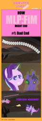 Size: 1000x2842 | Tagged: safe, artist:sollace, pinkie pie, starlight glimmer, twilight sparkle, alicorn, pony, comic:equestria stories, avengers: infinity war, bad end, infinity gauntlet, pinkamena diane pie, pointy ponies, spoilers for another series, this will end in communism, twilight sparkle (alicorn), wasteland