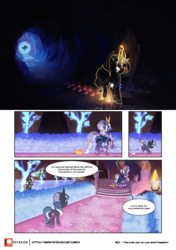 Size: 3541x5016 | Tagged: safe, artist:freeedon, artist:lummh, oc, oc:appolonia, oc:selendis, pony, unicorn, comic:the lost sun, cloak, clothes, collaboration, comic, female, filly, foal, glowing eyes, hood, hoofprints, horn, horn ring, mare, patreon, patreon logo, portal, speech bubble, younger