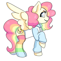 Size: 2000x2000 | Tagged: artist:savibear, clothes, female, freckles, hoodie, mare, multicolored hair, oc, oc:cheery candy, oc only, pegasus, pony, rainbow hair, rainbow socks, raised hoof, safe, simple background, socks, solo, striped socks, transparent background