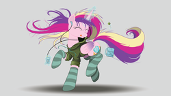 Size: 8000x4500 | Tagged: absurd res, alicorn, artist:beyondequestria, artist:ncmares, ask majesty incarnate, candy, clothes, cute, cutedance, dancing, earbuds, eyes closed, female, food, glowing horn, headphones, hoodie, horn, ipod, jacket, levitation, listening, lollipop, magic, majestic as fuck, mare, mug, music, ncmares is trying to murder us, nose wrinkle, pony, princess cadance, safe, signature, simple background, socks, solo, striped socks, telekinesis, tongue out, vector, white background