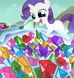 Size: 1621x1712 | Tagged: safe, composite screencap, edit, edited screencap, screencap, rarity, pony, unicorn, the cutie mark chronicles, blank flank, female, filly, filly rarity, gem, geode, panorama, rock, sparkles, younger