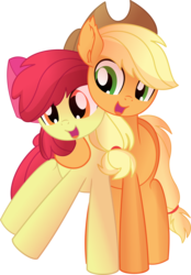 Size: 5996x8604   Tagged: safe, artist:cyanlightning, apple bloom, applejack, earth pony, pony, growing up is hard to do, .svg available, absurd resolution, adorabloom, cute, duo, female, hat, hug, jackabetes, lidded eyes, mare, older, older apple bloom, sibling love, siblings, simple background, sisterly love, sisters, sitting, transparent background, vector